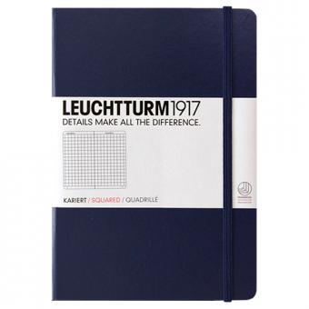 """Leuchtturm1917 Notizbuch """"M"""" marine kariert"""