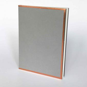 "Semikolon Notizbuch ""M"" Kupferkante grau"