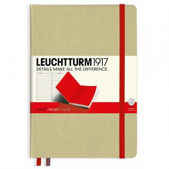 "Leuchtturm1917 Notizbuch ""M"" sand/rot liniert"
