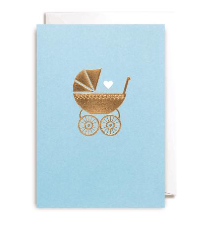 Grußkarte Kinderwagen hellblau