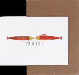 Grußkarte Zur Hochzeit küssende Fische in rot