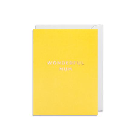 """Grußkarte """"Wonderful Mum"""" in gelb"""