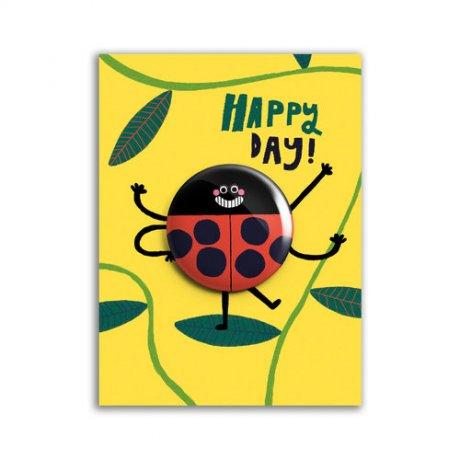 Grußkarte Happy Day Marienkäfer
