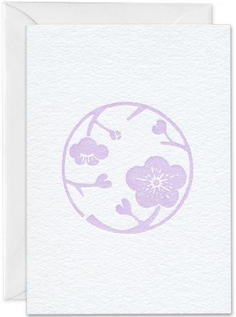 Grußkarte japanische Kirschblüte violett
