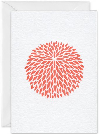 Grußkarte Chrysantheme koralle