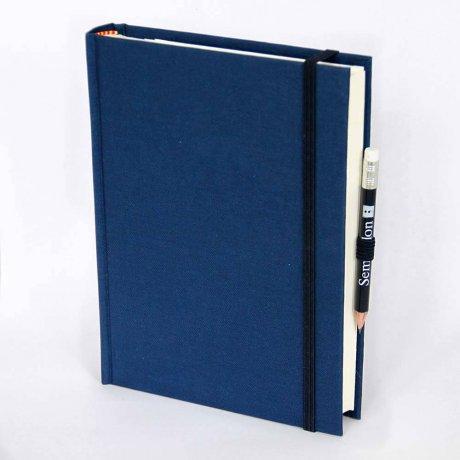 """Semikolon Grand Voyage Notizbuch """"M"""" Leinen dunkelblau 1"""