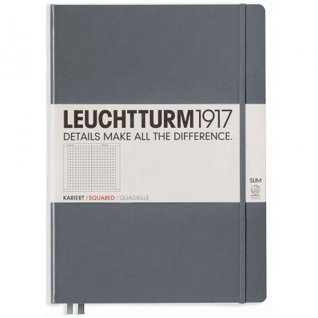 """Leuchtturm1917 Notizbuch """"L"""" slim anthrazit kariert 1"""