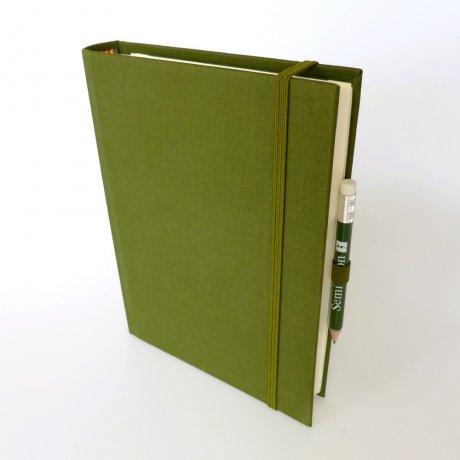 """Semikolon Grand Voyage Notizbuch """"M"""" Leinen dunkelgrün 1"""
