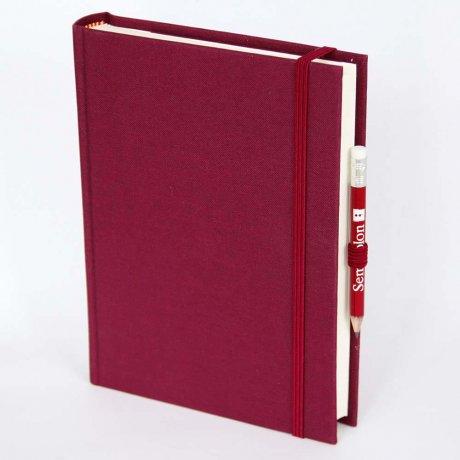 """Semikolon Grand Voyage Notizbuch """"M"""" Leinen dunkelrot 1"""