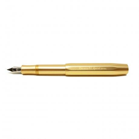 Kaweco Al SPORT Füller Gold Edition | Feder M | klassischer achteckiger Füllhalter für Patronen 1