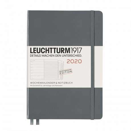 """Leuchtturm1917 """"M"""" Wochenkalender / Notizbuch anthrazit 2020 1"""