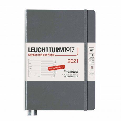 Leuchtturm 1917 Wochenkalender/Notizbuch 2021 Deutsch anthrazit 1