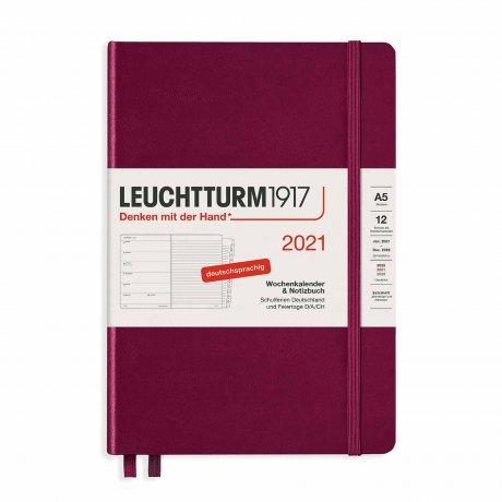 Leuchtturm 1917 Wochenkalender/Notizbuch 2021 Deutsch port red 1