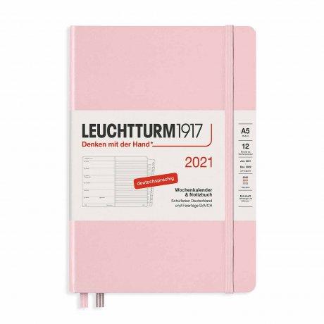 Leuchtturm 1917 Wochenkalender/Notizbuch 2021 Deutsch puder 1