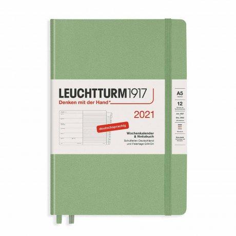 Leuchtturm 1917 Wochenkalender/Notizbuch 2021 Deutsch salbei 1