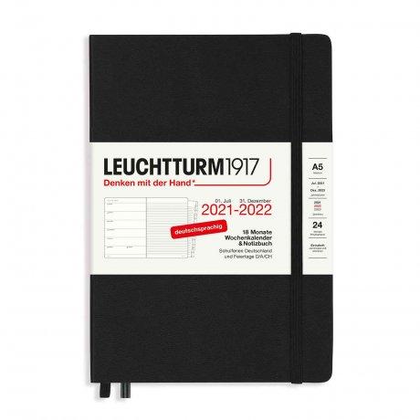 Leuchtturm 1917 18 Monate Wochenkalender/Notizbuch 2022 Hardcover Deutsch schwarz  A8 1