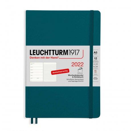 Leuchtturm 1917 Wochenkalender/Notizbuch 2022 Softcover Deutsch pacific green 1
