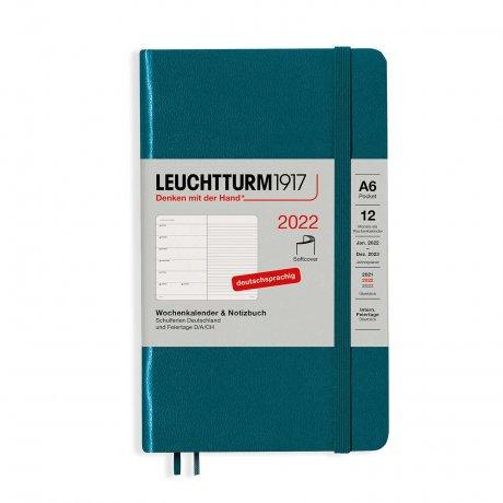 Leuchtturm 1917 Wochenkalender/Notizbuch 2022 Softcover Deutsch pacific green A6 1
