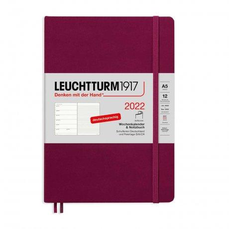 Leuchtturm 1917 Wochenkalender/Notizbuch 2022 Softcover Deutsch port red 1