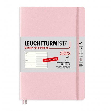 Leuchtturm 1917 Wochenkalender/Notizbuch 2022 Softcover Deutsch puder 1