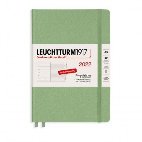 Leuchtturm 1917 Wochenkalender/Notizbuch 2022 Deutsch salbei 1