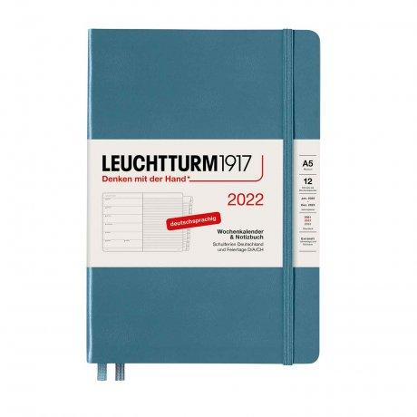 Leuchtturm 1917 Wochenkalender/Notizbuch 2022 Deutsch stone blue 1