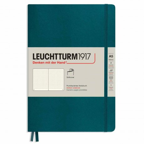 "Leuchtturm1917 Notizbuch Softcover ""M"" pacific green dotted 1"