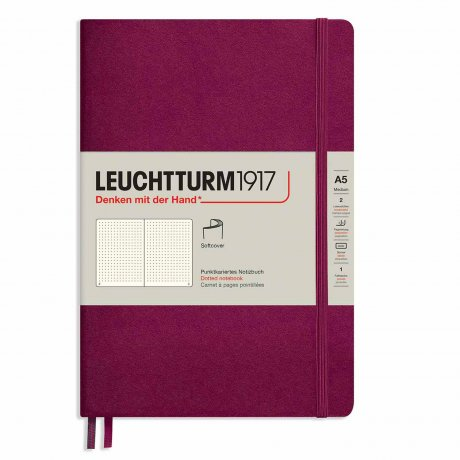 "Leuchtturm1917 Notizbuch Softcover ""M"" port red dotted 1"
