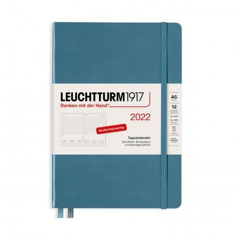 Leuchtturm 1917 Tageskalender 2022 Hardcover Deutsch stone blue A5 1