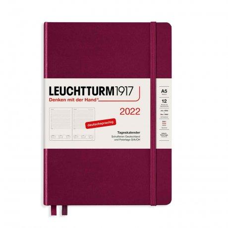 Leuchtturm 1917 Tageskalender 2022 Hardcover Deutsch port red A5 1