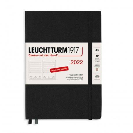 Leuchtturm 1917 Tageskalender 2022 Hardcover Deutsch schwarz A5 1