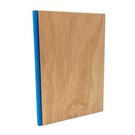 Notizbuch mit echtem Kirschholz in A5 mit blauem Buchrücken, blanko 1
