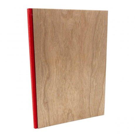 Notizbuch mit echtem Kirschholz in A5 mit rotem Buchrücken, blanko 1