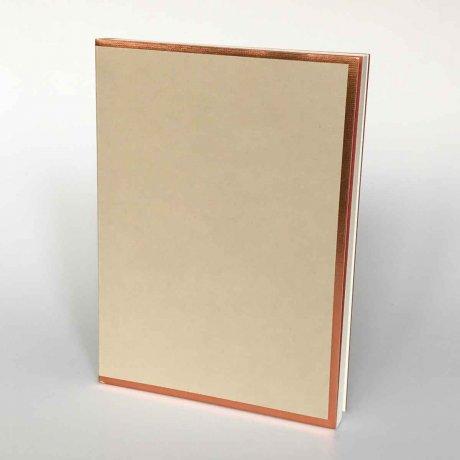 """Semikolon Notizbuch """"M"""" Kupferkante sand 1"""