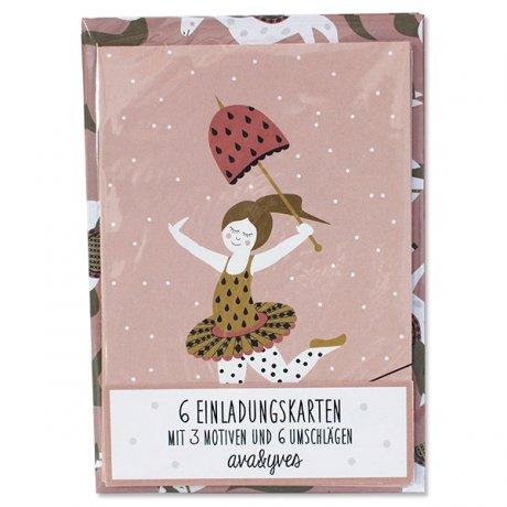 Einladungskarten-Set Zirkusmädchen 1