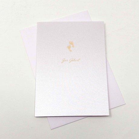 Grußkarte von Gmund kleine Füße weiß metallic 1