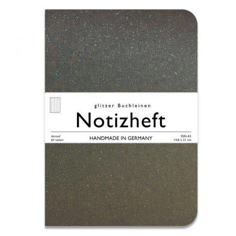 meinnotizbuch wow books notizheft mit glitzer leinen einband in a5 dunkelgrau dotted. Black Bedroom Furniture Sets. Home Design Ideas