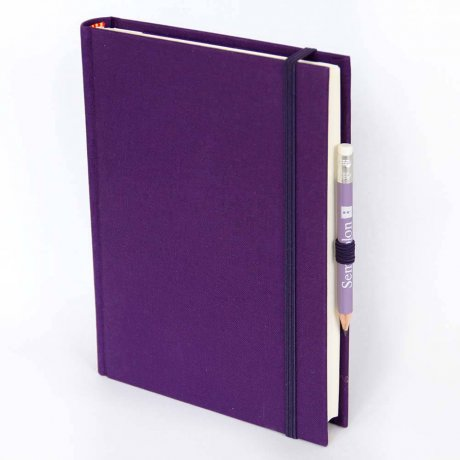 "Semikolon Grand Voyage Notizbuch ""M"" Leinen lila 1"