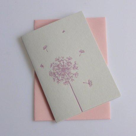 Grußkarte Löwenzahn rosa 2