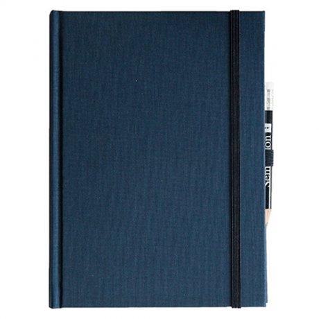"""Semikolon Grand Voyage Notizbuch """"M"""" Leinen dunkelblau 2"""