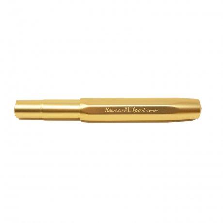 Kaweco Al SPORT Füller Gold Edition | Feder M | klassischer achteckiger Füllhalter für Patronen 2