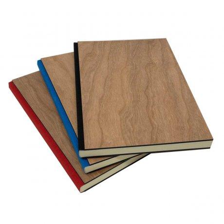 Notizbuch mit echtem Kirschholz in A5 mit rotem Buchrücken, blanko 2