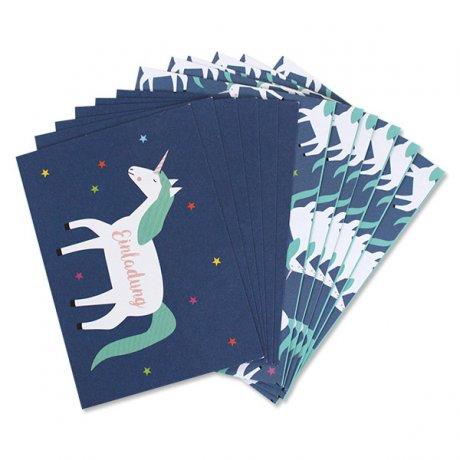 Einladungskarten-Set Einhorn 2