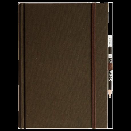 """Semikolon Grand Voyage Notizbuch """"M"""" Leinen dunkelbraun 2"""