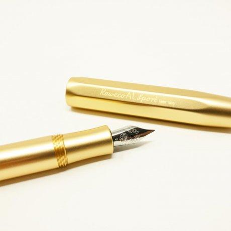 Kaweco Al SPORT Füller Gold Edition | Feder M | klassischer achteckiger Füllhalter für Patronen 3