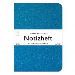 wow books - Notizheft mit Glitzer-Leinen-Einband in A5, türkis, dotted