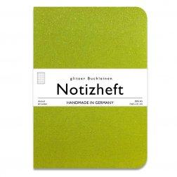 wow books - Notizheft mit Glitzer-Leinen-Einband in A5, limone, dotted