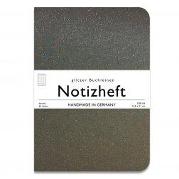 wow books - Notizheft mit Glitzer-Leinen-Einband in A5, dunkelgrau, dotted
