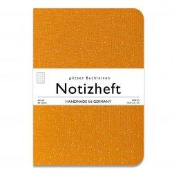 wow books - Notizheft mit Glitzer-Leinen-Einband in A5, gelb, dotted